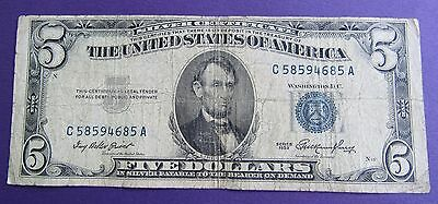 1953 $5 US Banknote - Silver Certificate - Blue Seal