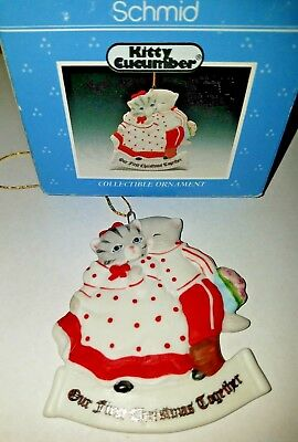 KITTY CUCUMBER OUR FIRST CHRISTMAS TOGETHER PORCELAIN Cats SCHMID ORNAMENT 1990