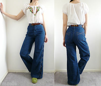 VTG 70s Maverick Wide Leg Jeans High Waist Bell Bottoms Trousers Hippie Boho