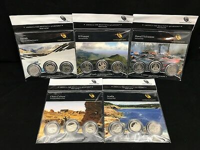 2012 U.S.Mint~America The Beautiful Quarters~Complete Series~Three Coin Sets
