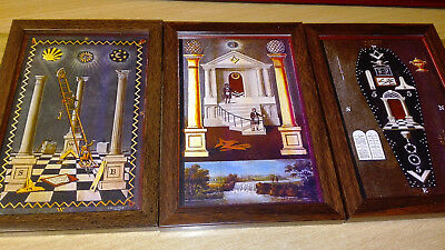 MasonicTracing Board prints set of 3 in brown woodstyle frames 17cm x 12cm