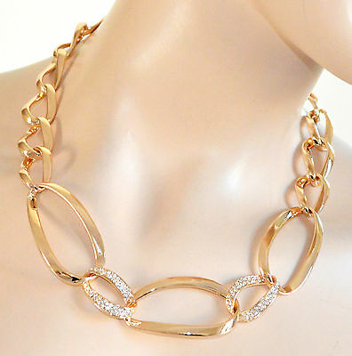 COLLANA donna GIROCOLLO oro strass anelli Collar Necklace ожерелье collier A69