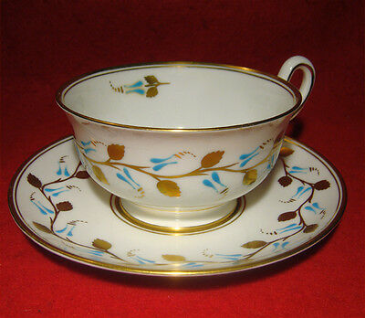Royal Chelsea Tea Cup & Saucer Gold Leaves Turquoise Flowers Made In England