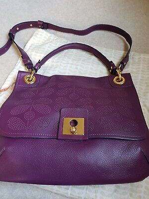 Orla Kiely Sixties stem punched bag in plum leather brand new RRP £379