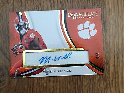 Mike Williams 2017 Immaculate Collegiate Football Chin Strap Auto  Ssp#1/8