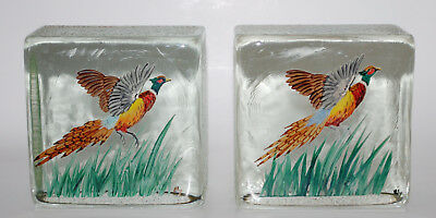 Vintage Hand Ptd. Ring Neck Pheasant Solid Glass Block Bookends Bird Hunting