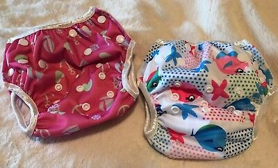 Alva Baby Swim Diapers Lot Of 2 Pink Fish Hearts Anchors One Size Washable Reuse