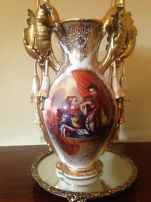 "French Chinoiserie porcelain vase 20"" white with gold leaf decorations"