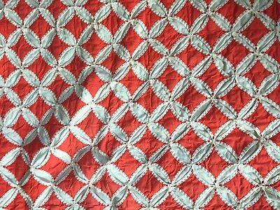 UNUSUAL Antique Entirely Hand Stitched 19th century  Quilt
