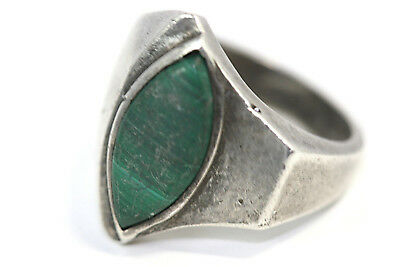 D268 Malachite Sterling 7.3g 925 Ring Size 7 signed WX925