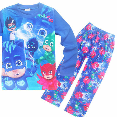Kids PJ Masks Cartoon Pajamas Sets Sleepwear T Shirt Nightgown Clothes tshirts A