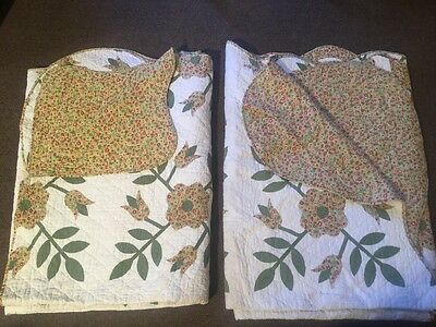 Vintage Pair Of Twin Size Quilts With Flowers- Lovely!