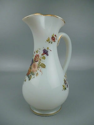 Antique French Opaline Water Pitcher w/ Hand Painted Flowers - Clambroth GL
