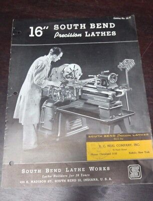 "South Bend  16"" Precision Lathe Flyer July 1945     Dealer Tag R.C. Neal Company"