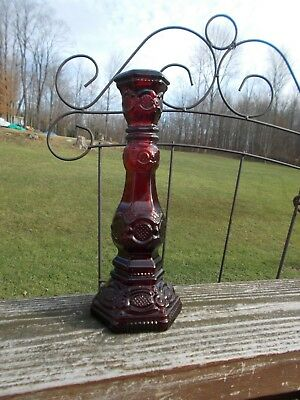 Avon Cape Cod 1876 Ruby Red Colored Glass Single Candlestick Holder Pre-owned