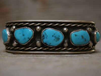 Vintage Old Navajo Native American Turquoise Sterling Silver Cuff Bracelet