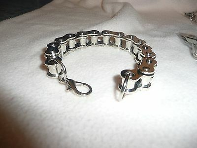 Mens Large Steel Bike Chain Bracelet.gothic/biker/motorbike Jewellery.99P Start