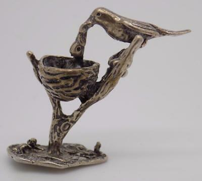 Antique Solid Silver Italian Made Birds w/t Nest Miniature, Figurine, Stamped