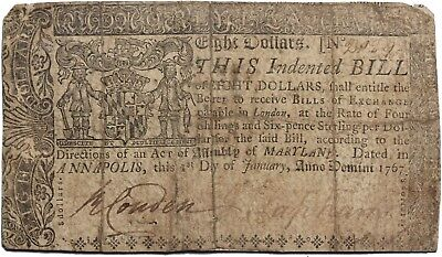 Maryland 1767 Eight Dollars $8 Colonial Currency Note