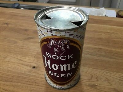Home Bock Beer empty flat top beer can by Drewrys Limited, South Bend, IN