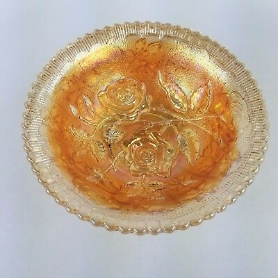 Antique Old Imperial Marigold Carnival Glass Open Rose Bowl