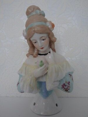 Large German Neundorf Porcelain Half Doll Teepuppe Demi Figurine Girl.