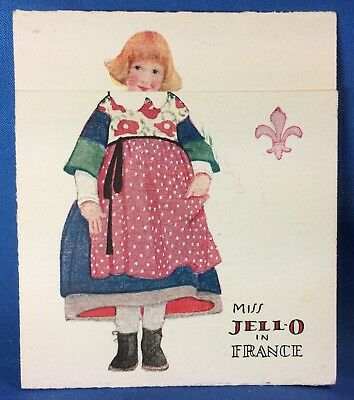 c. 1920 Miss JELL-O France Berry Whip Recipes Metamorphic Advertising Trade Card