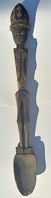 1800's Antique African Yoruba Hand Carved Wooden Spoon Sculpture