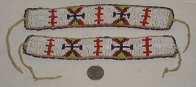 Native American Plains Indian Beaded Armbands or Cuffs Hand Tanned ca. 1920's