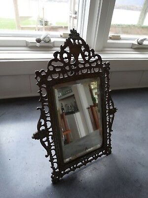 Antique Ornate Victorian Brass Table Easel Beveled Mirror old and lovely