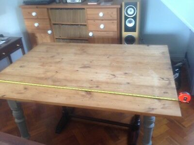 Antique Pine Windout Table Base with reclaimed Pine top.