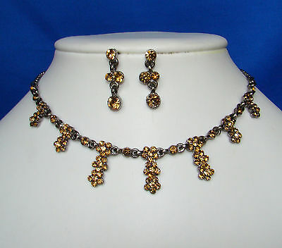 Vintage Flowers Necklace/Choker Earrings Set with Topaz Australia Crystals N1006