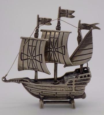 Vintage Solid Silver Italian Made Crusader LARGE Ship Miniature, Stamped