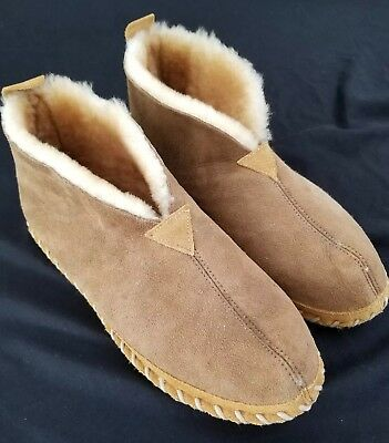 LL BEAN Wicked Good Slippers Genuine SHEARLING  BOOTIES MENS 11 M BROWN EUC
