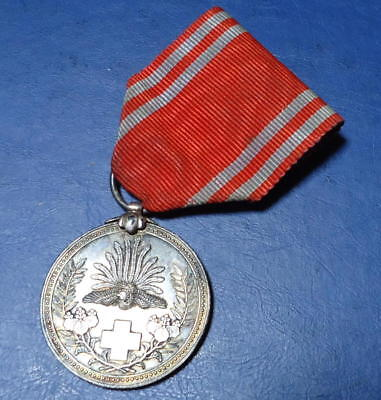 """Japan old medal """"Japanese Red Cross Society Solid silver Medal"""" Pre 1930"""