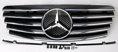Mercedes CLK Class W208 98-03 5 Fin Front Hood Sport Black Chrome Grill Grille