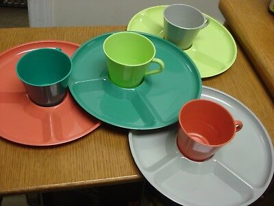 MCM 4 REGALINE plates ARVIN cups Plastic Dishes Picnic Set pink gray green blue