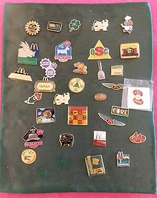 Very Cool Vintage Set 33 Mcdonald's Hat Lapel Employees Pins.