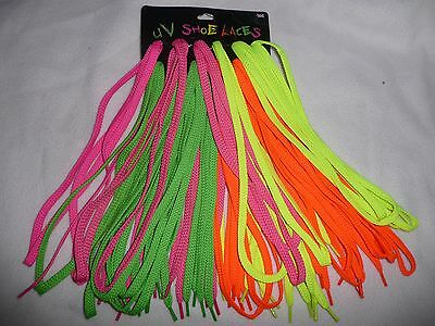 Wholesale Joblot Of 12 Neon/uv Funky Fashion Laces.dm's/skate/boot.4 Colours