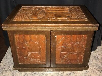 Vintage Antique style hand CARVED WOOD Jewelry Box chest drawer cabinet tropical
