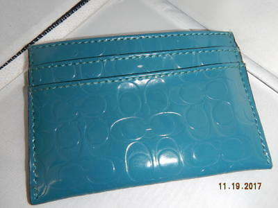 Authentic COACH BLUE Teal PATENT LEATHER C EMBOSSED CREDIT CARD CASE HOLDER
