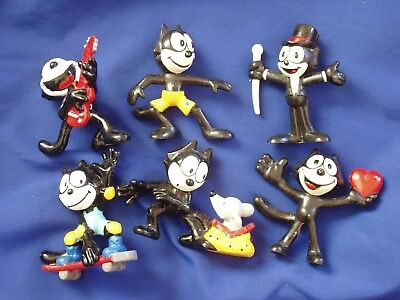 Lot of 6 Felix the Cat PVC Figurines by Applause