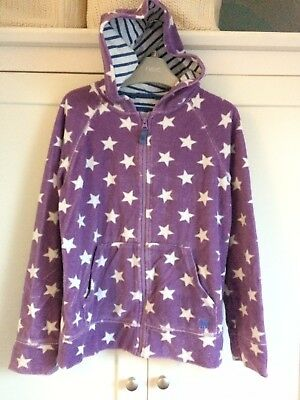 MINI BODEN GIRLS STAR HOODIE PURPLE with WHITE STARS - VGC AGE 11-12