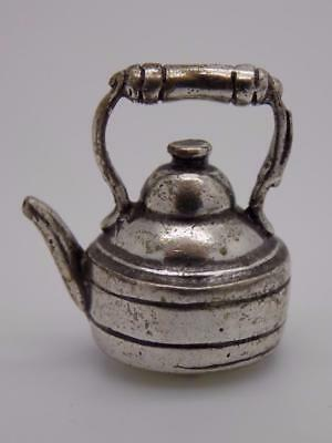 Vintage Solid Silver Italian Made Teapot Miniature, Dollhouse, Stamped, Figurine