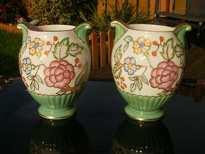 A Pair Of Art Deco Crown Devon Fieldings Hand Painted Tube Lined Vases - Floral