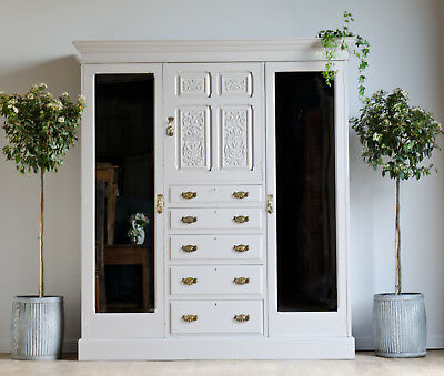 Large Antique Victorian Triple Wardrobe Compactum Drawers Painted Farrow & Ball