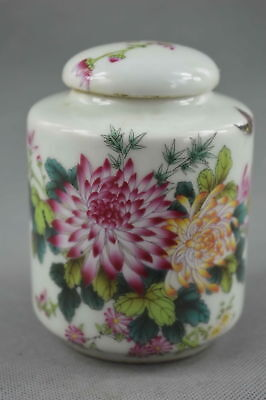 Fine Collectable Handwork Porcelain Paint Beauty Flower Bird Noble Spice Pot