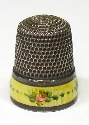 Antique Simons Bros Sterling Silver Enamel Band Thimble Pink Roses Rich Patina