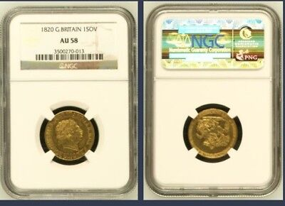 1820 Full Gold Sovereign-NGC AU58-King George III , High Grade