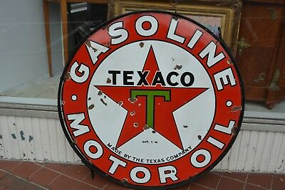 "Texaco Porcelain 42"" Station Sign 1930's Double Sided with Ring"